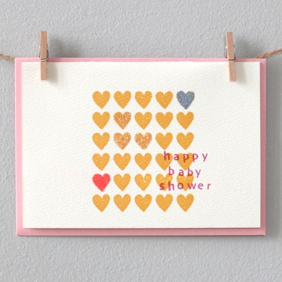 baby shower card happy baby shower hearts