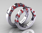 Modern Italian 14K White Gold Rubies Wedding Band Set R310BS-14KWGR