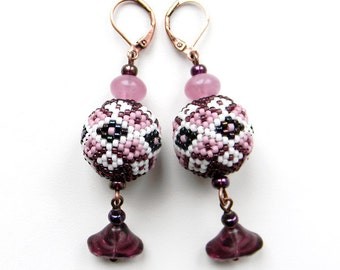 Purple and White  Seed Bead Earrings  - beaded jewelry,  beaded beads