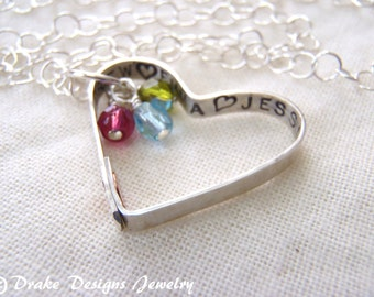 Personalized Family Necklace Sterling Silver Mommy necklace gift for mom