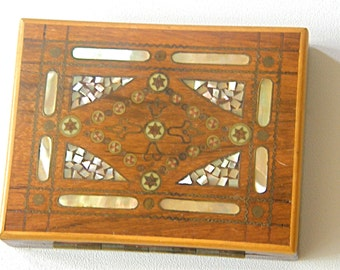 Cigarette Box,Miniature,Rosewood Inlaid Mother of Pearl Brass Bone, Antique