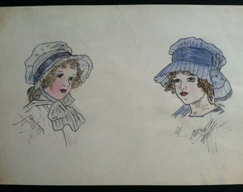 Antique Original Colored Sketch of Two Little Girls - Signed by Artist Sylvia Romano - c. 1910 - 1920