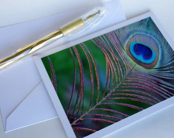 """Peacock photo card - blank card - feather note card - fine art photo - peacock feather image - handmade card 4x5.5"""" """" Feather of Light """""""