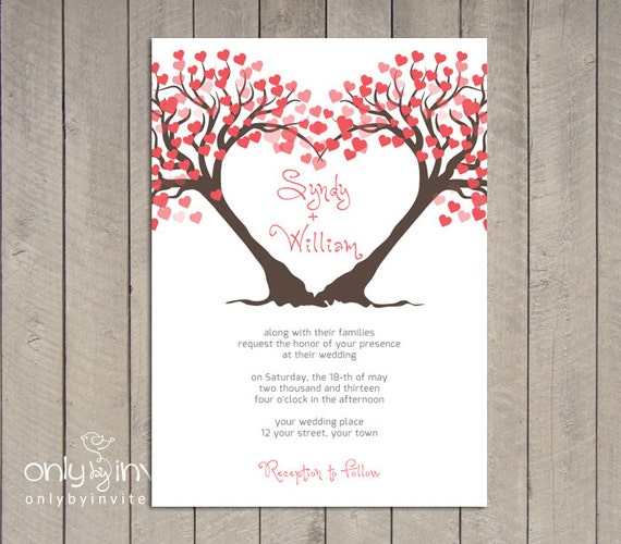 heart trees wedding invitation printable diy summer spring wedding