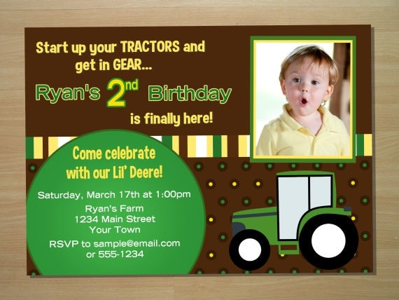 Tractor Birthday Invitation - Digital File (Printing Services Available)