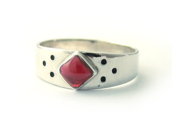 January Birthstone Ring Capricorn Astro Sign Ring Medieval Style Ring Square Red Garnet Ring Sterling Ring, Engraved Ring, Size 8 1/4