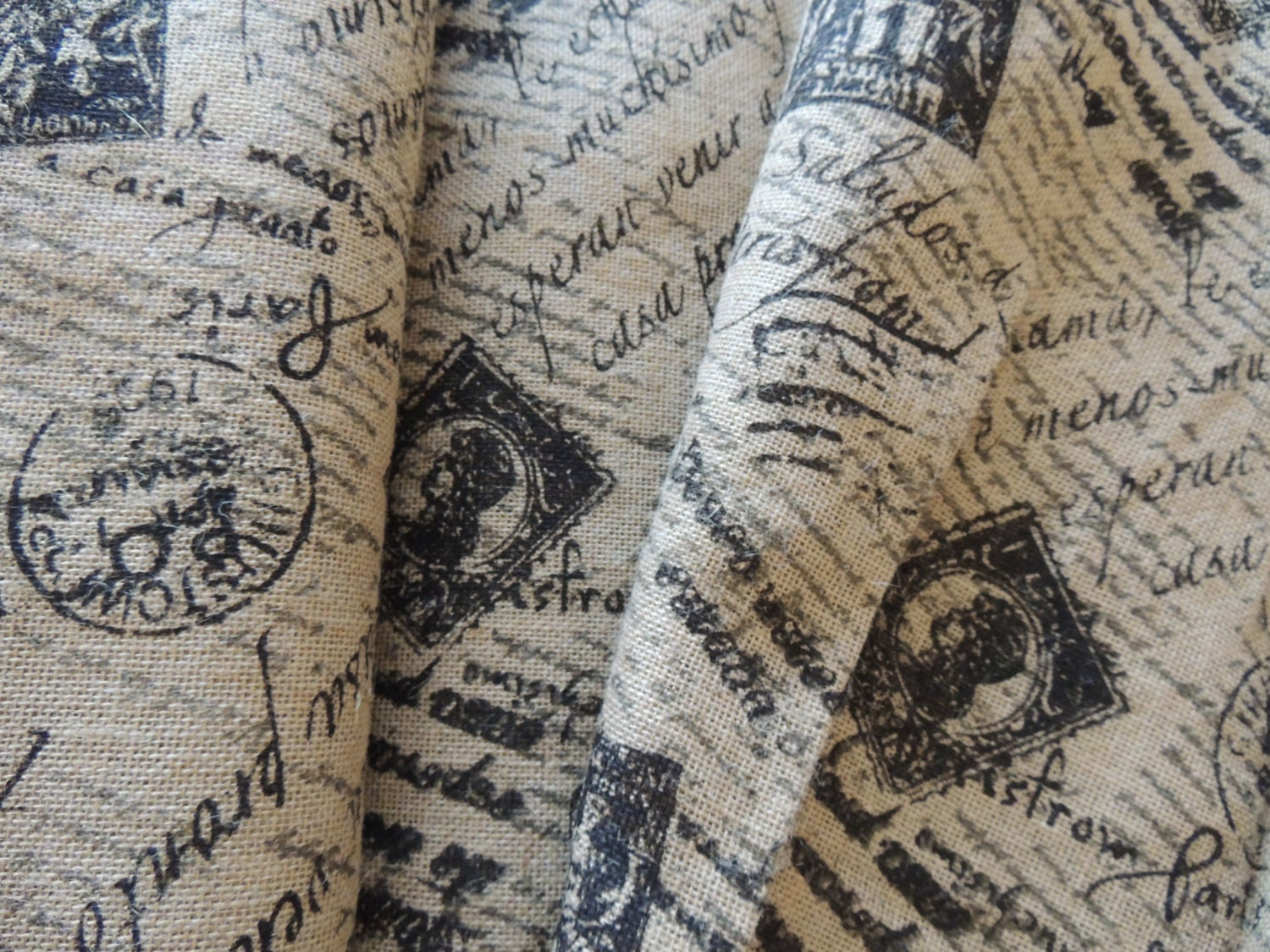 Lovely French Postage Stamp PRINTED BURLAP Fabric by OldPaperCat