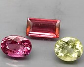Bright Spring Colored Tourmalines, 2.73 Ct TW , 7x6 -8x5 mm, Mozambique Set of 3