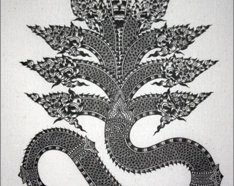 Thai traditional art of Naga by printing on Natural colors cloth.
