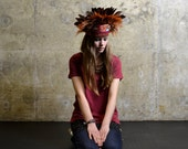 Fire and Glory - Handcrafted Headdress - Natural Feather Crown - Hapuska