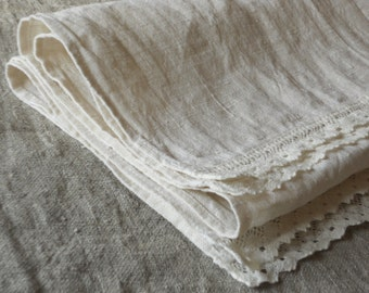Linen guest towels, set of 4 natural white hand towels with lace, rustic kitchen towels in shabby chic french style