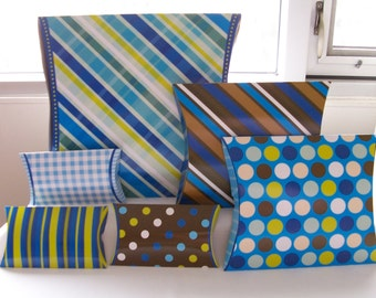 6 Party pillow boxes - Birthday party gift boxes - assorted sized gift boxes - colourful pillow boxes - party packaging