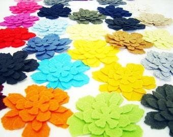 60 Piece, 15 Set - Die Cut Felt Flowers - Die Cut Felt Tattered Flower