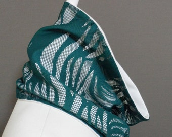 Reversible Lace & Thick Jersey Fabric, Double Layer Cowl, Neckwarmer, Scarf, Collar,  Winter Fashion