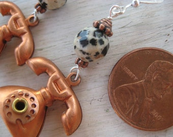 Earrings with vintage copper telephone beads.