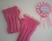 Fingerless Hand Knitted 100% Cotton Pink and White Gloves - Girls sizes 4-6