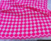 Hand crochet entrelac baby blanket afghan Handmade crocheted