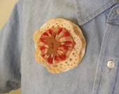 Red brooch/pin, handmade, tea dyed fabric, with metal rust color star button, rustic.