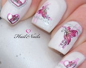Nail WRAPS Nail Art Water Transfers Decals Pink Butterfly Silver Glitter YD117