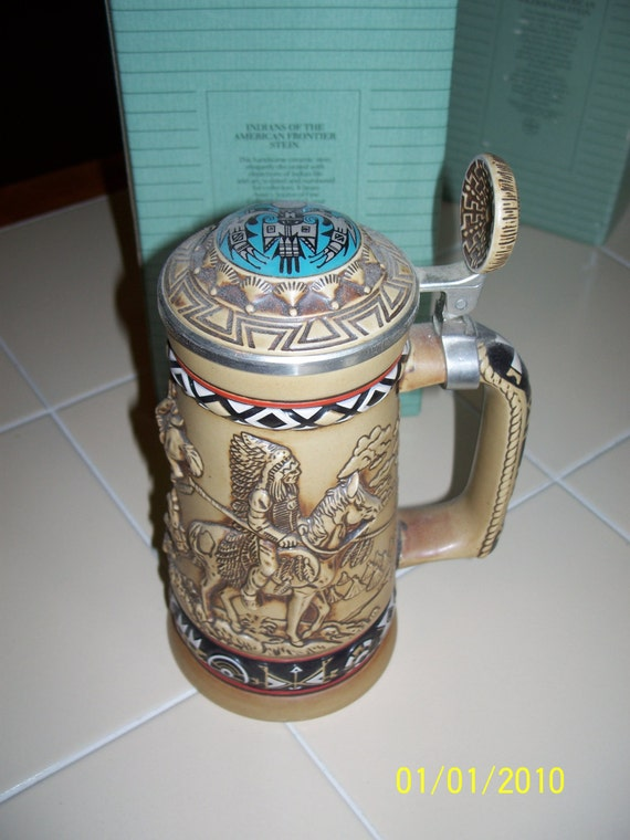 Collectible Avon Beer Stein With Original Boxnative American