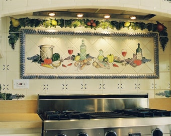 Custom Hand Painted French Still Life Kitchen Tile Mural