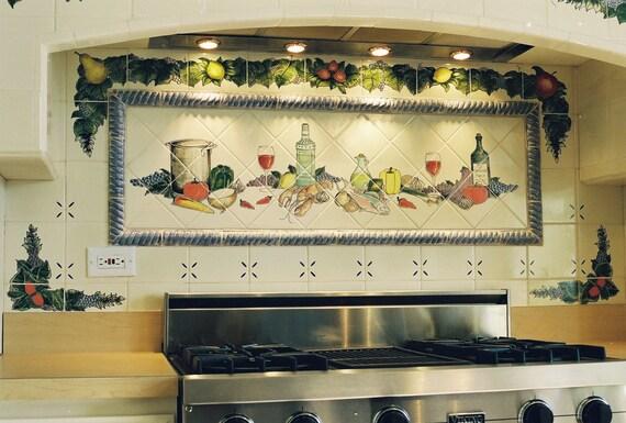 Pintado franc s bodeg n cocina azulejo mural a mano for Murales para cocina