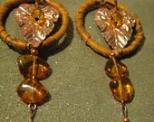 Leaf Charm Hoop Dreamcatcher earrings with Amber Dangles handmade design