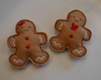 Felt Gingerbread Boy & Girl Cookies (set of 4)