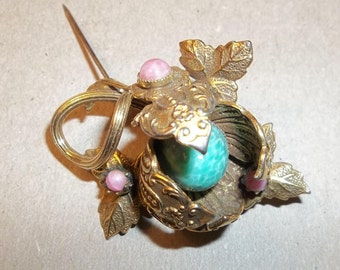 SALE: Gift. Unique Vintage Goldtone Brooch with Gemstones.