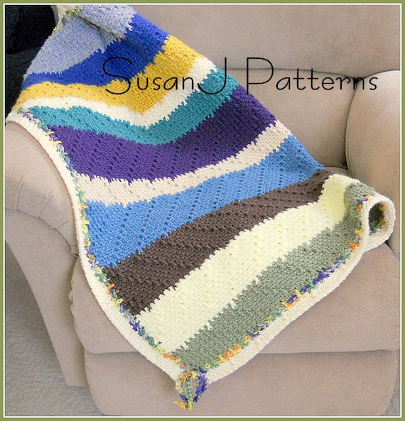 Crochet Afghan Patterns Stripes : Crochet Pattern Afghan Calebs Stripes