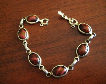 Vintage Bracelet Brown Art Glass & Gold Tone Sarah Coventry WOOD NYMPH 1960s