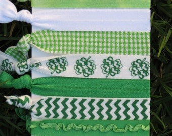 7 Pk St. Patrick's Day Four Leaf Clover Ruffle Green White Chevron Gingham Tie Dye Knot Hair Ties Stretch Fold Over Elastic PonyTail Holder