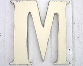 "Wooden Letters Distressed M 24"" Large Wedding Guestbook Antique White Signage Gift"