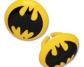 Batman Yellow bat logo cupcake rings picks cake toppers, great for super hero justice league boy girl birthday party or as treat bag favors