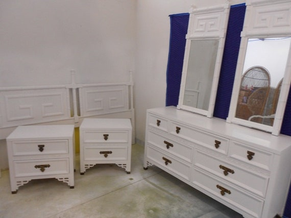 RESERVED Chinoiserie Hollywood Regency Bedroom Set By Circa61