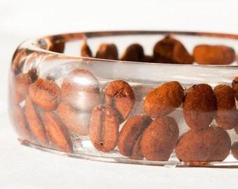 Bangle Bracelet Coffee beans - Resin bangle Large size - Handmade jewelry - Latte Cappuccino bracelet - coffee bangle - dark brown bracelet