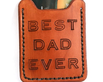 Best Dad Ever Money Clip Wallet. Gift for dad - Mens leather wallet with money clip - Money clip card case - Wedding Father of the Bride