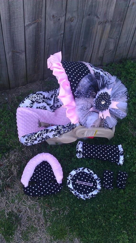 Items Similar To Damask Polka Dot And Baby Pink Carseat