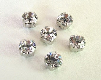 6mm Crystal Silver Shade Montees, Lot of 6, SS29, Swarovski Chaton Montees, Xirus 1088, Sew On, Choice of Settings, Crystal Silver Shade