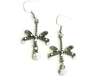 Dragonfly Earrings Steampunk antique silver faux diamond Dangling Handmade Gift