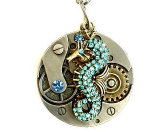 Seahorse Necklace Clockwork mixed metal gears rhinestone seahorse Handmade Gift