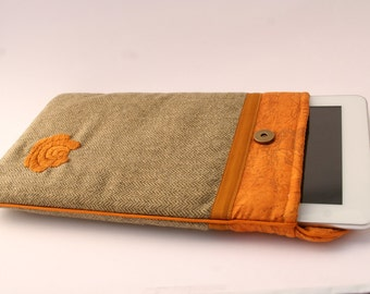 Tablet or E-book cover - pouch - hand embroidered - iPad case - iPad bag - iPad sleeve - matyo hungarian embroidery - mustard yellow