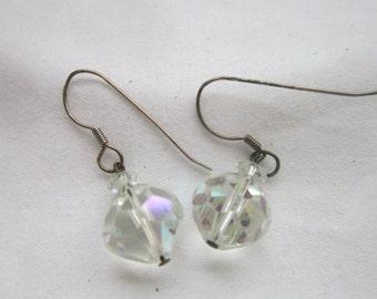 Vintage Faceted Large Cut Crystal Aurora Borealis Pierced Earrings
