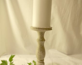 Stone Pebble Lathe-turned Wood Pillar Candle Holder - MADE IN USA