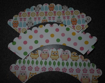Owl Cupcake Wrappers  Set of 12  Polka Dots Pink green