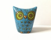 ON SALE Fitz and Floyd Owl Piggy Bank - Paper Mache Owl - Funky 70s Decor