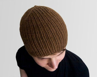 custom perfect hand knit wool-blend skullcap -- the torse beanie in cocoa, or your color of choice