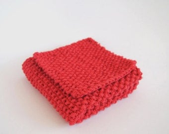 hand knit red cotton washcloth and bath scrubber set
