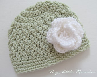 Baby Girl Hat, Crocheted Beanie Hat with Flower, Light Green Hat, White Flower - Customized Color/Size - Newborn, Up to 12 Months