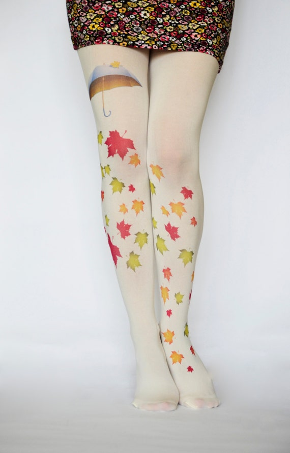 Autumn Leaves Cream Pantyhose Tights,Colorful Print Umbrella Leggings, Tattoo Tights, Pantyhose Handmade Printed Tights